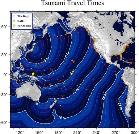 A computer generated image provided by the NOAA shows the projected travel times of the tsunami. REUTERS/NOAA/Tsunami Warning Center