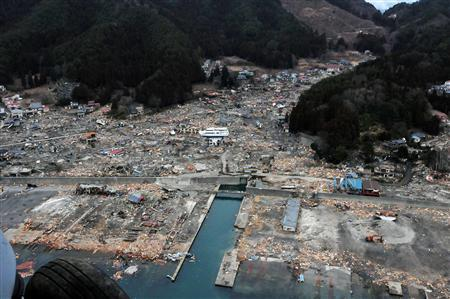 The destruction is seen from an aerial view in Wakuya, Miyagi Prefecture, in this U.S. Navy handout photo dated March 15, 2011. REUTERS/U.S. Navy/Mass Communication Specialist 3rd Class Alexander Tidd/Handout