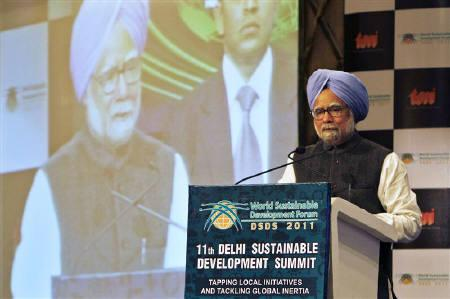 Prime Minister Manmohan Singh is seen at a summit in New Delhi February 3, 2011.  REUTERS/B Mathur