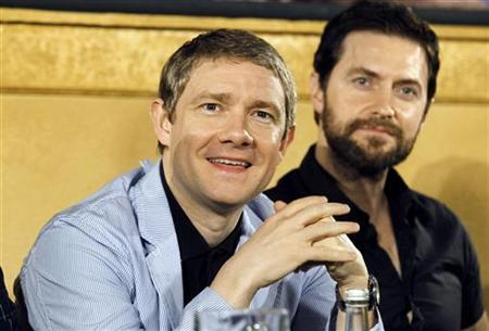 British actor Martin Freeman attends a news conference for cast members of Peter Jackson's two-part film The Hobbit, at Jackson's Park Road Post facility in Wellington February 11, 2011. REUTERS/Anthony Phelps