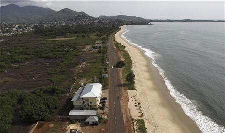 An aerial view shows Lumley Beach in the Sierra Leonean capital Freetown, November 4, 2010. REUTERS/Simon Akam