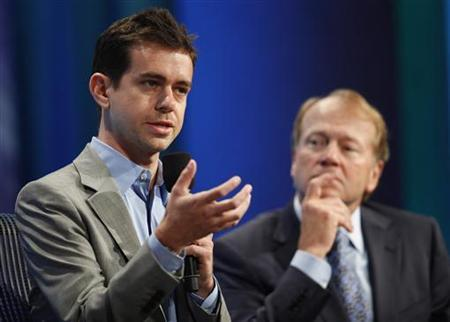 Jack Dorsey (L), Co-founder of and Chairman of Twitter, speaks while John Chambers, Chairman and Chief Executive Officer of Cisco (R), listens during a panel discussion titled ''Enhancing Access to Modern Technology,'' at the Clinton Global Initiative, in New York, September 23, 2010. REUTERS/Chip East
