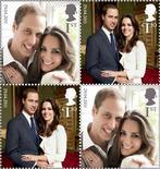 <p>Набор памятных марок с изображением принца Уильяма и Кейт Миддлтон. Королевская почта Великобритании планирует выпустить комплект памятных марок по случаю свадьбы принца Уильяма и Кейт Миддлтон. REUTERS/Royal Mail/Handout</p>