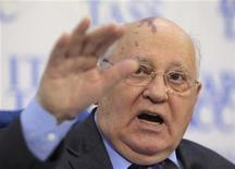 <p>Former Soviet President Mikhail Gorbachev gestures during a news conference in Moscow February 21, 2011. REUTERS/Sergei Karpukhin</p>