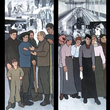 A mural image showing (left) a member of the IWW or ''Wobblies'' trying to organize the Maine woodsmen and The Textile Workers and a mural image depicting (right) young women sent to the mills by their families, who could not, or would not support them. REUTERS/Judy Taylor/Handout