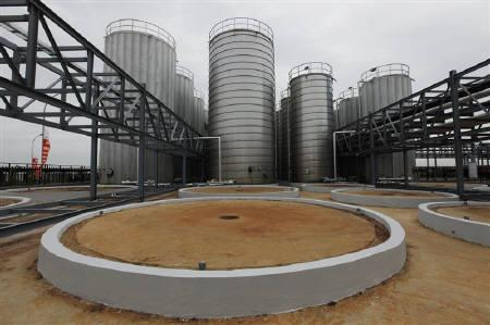 Palm oil storage tanks are seen at the palm oil-based refinery plant owned by Sinar Mas Agro Resources and Technology (SMART) in Marunda, West Java March 30, 2011. REUTERS/Enny Nuraheni