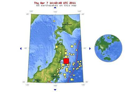A USGS graphic showing the location of a strong earthquake off the coast of Japan, April 7, 2011. REUTERS/USGS/Handout