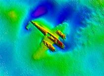 <p>A World War Two era German Dornier 17 bomber is seen using high-tech sonar equipment, showing it to be largely intact and well-preserved on the sea floor, in an undated photo off the Kent coast. REUTERS/Port of London/handout</p>