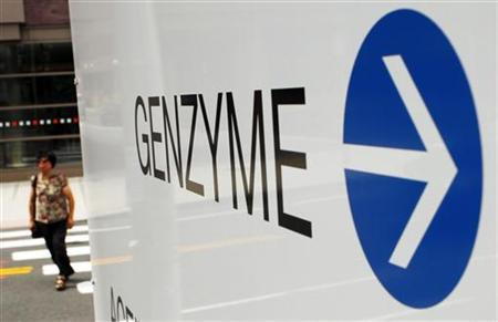 A sign points the way to the headquarters of Genzyme in Cambridge, Massachusetts August 3, 2010. REUTERS/Brian Snyder