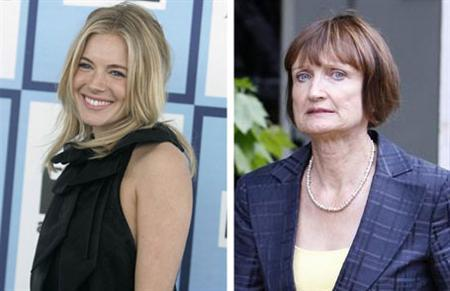 Actress Sienna Miller and British politician Tessa Jowell in a combination image. REUTERS/Files