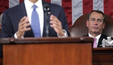 House Speaker John Boehner (R-OH) watches as President Barack Obama delivers his State of the Union address on Capitol Hill in Washington, January 25, 2011. REUTERS/Pablo Martinez Monsivais/Pool