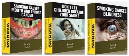 A combination photo shows illustrations obtained by Reuters of some of the proposed models of cigarettes packs April 7, 2011. Australia's government has unveiled plans for some of the world's toughest anti-smoking laws, saying it would force big tobacco companies to use plain green packaging for cigarettes despite the threat of industry legal action. REUTERS/Australian Government/Handout