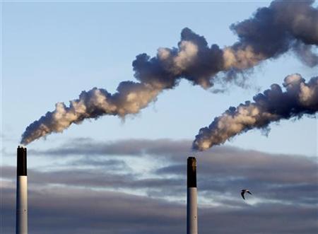 A bird flies near chimneys emitting smoke in the harbour area of Copenhagen January 26, 2011. REUTERS/Yves Herman