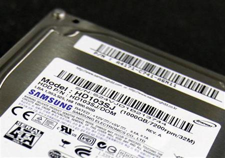 A Samsung Electronics hard-disk-drive (HDD) is seen at an electric appliance store in Seoul, in this picture illustration taken April 18, 2011. REUTERS/Truth Leem