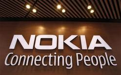 <p>A corporate logo is displayed at the Nokia flagship store in Helsinki September 29, 2010. Picture taken September 29. REUTERS/Bob Strong</p>