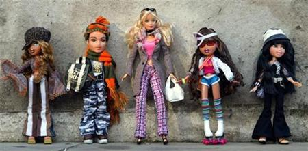 Bratz dolls and a Barbie Doll at a toy exhibition in London in a file photo. REUTERS/Stephen Hird