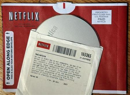 A DVD rental from Netflix is seen in Medford, Massachusetts in this July 25, 2008 file photo. REUTERS/Brian Snyder/Files