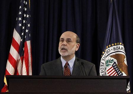 U.S. Federal Reserve Chairman Ben Bernanke addresses a first-ever regularly scheduled news conference by a Fed chief following a Fed meeting at the Federal Reserve in Washington, April 27, 2011. REUTERS/Jason Reed