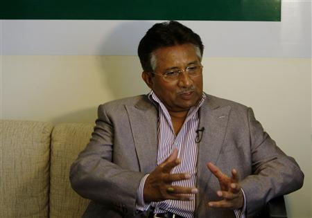 Former Pakistani President Pervez Musharraf speaks during an interview with Reuters in Dubai, May 2, 2011. REUTERS/Jumana El-Heloueh