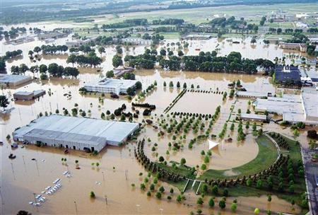 An aerial photograph shows flooding at Naval Support Activity Mid-South in Millington, Tennessee, in this photograph taken May 2 and released May 3, 2010. REUTERS/Mark Wilson/U.S. Navy/Handout