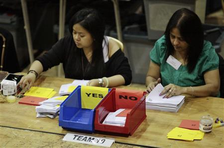 Workers count ballots for the referendum on the Alternative Vote, in a sports centre in Vauxhall, London, May 6, 2011. REUTERS/Olivia Harris