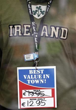 A souvenir shirt hangs in the window of a shop on Grafton street in Dublin March 31, 2011. REUTERS/Cathal McNaughton