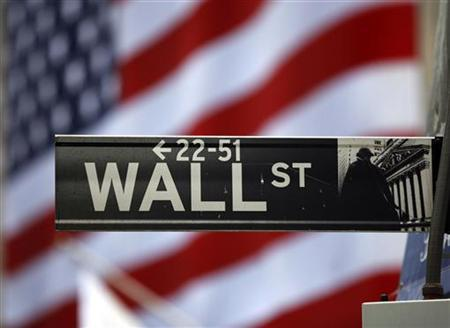 The Wall Street sign is seen outside the New York Stock Exchange in this March 26, 2009 file photo. REUTERS/Chip East