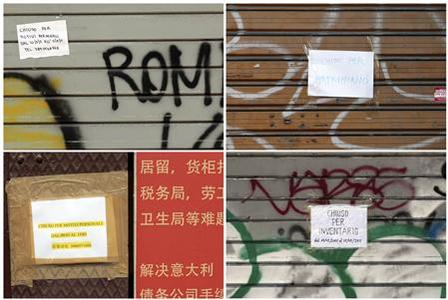 A combination photo of shops with signs reading ''close for family reasons'' (L, top and bottom) or ''close for inventory'' (R, bottom) and ''close for a wedding'' in the Chinatown district in Rome May 11, 2011. REUTERS/Alessandro Bianchi