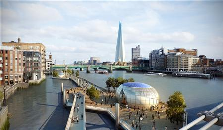 A computer-generated image shows the plan of the kilometre-long floating walkway earmarked for London's River Thames. REUTERS/Mayor of London's Office/Handout