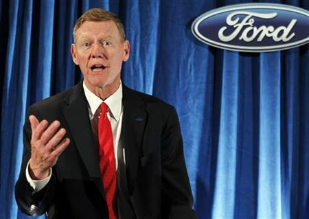 Ford Motor Company's President and CEO Alan Mulally makes remarks during a news conference after the firm's annual meeting of shareholders in Wilmington, Delaware May 12, 2011. REUTERS/Tim Shaffer