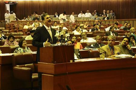 Pakistan Prime Minister Yusuf Raza Gilani speaks during parliament session in Islamabad May 9, 2011. REUTERS/Prime Minister's Office/Handout