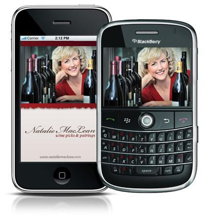 The Natalie MacLean Wine Picks & Pairings mobile phone app is pictured in this undated publicity photo. REUTERS/Handout