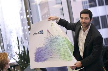 LinkedIn CEO Jeff Weiner displays a chart of graphics during the Reuters Technology Summit in San Francisco, California May 17, 2010. REUTERS/Robert Galbraith