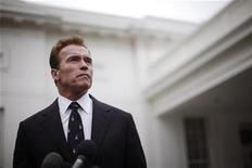 <p>Then California Governor Arnold Schwarzenegger outside the West Wing of the White House, February 22, 2010. REUTERS/Jason Reed</p>