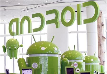 Android mascots are lined up in the demonstration area at the Google I/O Developers Conference in the Moscone Center in San Francisco, California, May 10, 2011.