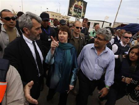 European Union foreign policy Chief Catherine Ashton gestures during her visit to the court house in Benghazi May 22, 2011. Ashton pledged support for rebels in east Libya on Sunday, making the most senior visit to the area by a foreign official since a revolt against Muammar Gaddafi began. REUTERS/Mohammed Salem