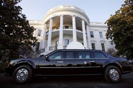 U.S. President Barack Obama's limousine, referred to as ''The Beast'', is parked in front of the South Portico after Obama returned to the White House in Washington, March 6, 2009. REUTERS/Jim Young/Files