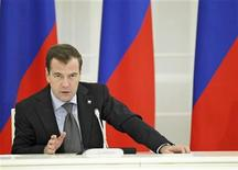 <p>Russia's President Dmitry Medvedev chairs a meeting with scientists at the presidential residence Gorki, outside Moscow May 23, 2011. REUTERS/Dmitry Astakhov/RIA Novosti/Kremlin</p>
