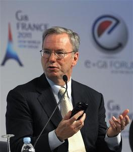 Google Executive Chairman Eric Schmidt attends the eG8 forum in Paris May 24, 2011. The eG8 forum gathers ''leaders of the Internet'' to consider and discuss the future of the Internet and society. REUTERS/Philippe Wojazer