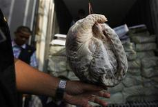 <p>A custom officer holds frozen pangolin meat near a container at Tanjung Priok harbour in Jakarta May 26, 2011. REUTERS/Beawiharta</p>