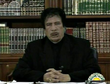 File photo of Libyan leader Muammar Gaddafi as he speaks on Libyan TV in this still image taken from video, January 15, 2011. REUTERS/Libyan TV via REUTERS TV/Files