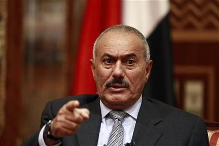 Yemen's President Ali Abdullah Saleh speaks during an interview with selected media including Reuters in Sanaa May 25, 2011. REUTERS/Khaled Abdullah