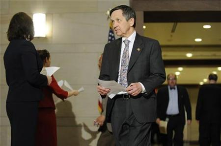 Rep. Dennis Kucinich (D-OH) arrives to hear President Barack Obama address Democratic members of the House of Representatives about health care legislation at the Capitol in Washington, March 20, 2010. REUTERS/Jonathan Ernst