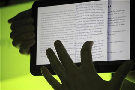 The Google Books app is shown on Google's latest version of the Android operating system, Honeycomb, on a Motorola Xoom tablet device following a news conference at Google Headquarters in Mountain View, California February 2, 2011. REUTERS/Beck Diefenbach