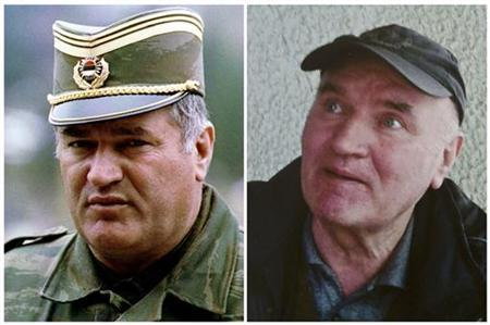 Combination photo shows Bosnian Serb army commander General Radko Mladic in Pale dated May 7, 1993 and in Belgrade after he was arrested on May 26, 2011. REUTERS/Files/Politika/Handout