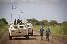 <p>A military observer from Namibia serving with the international peacekeeping operation is seen during a patrol in the region of Abyei, central Sudan, in this handout picture released by the United Nations Mission in Sudan (UNMIS) May 30, 2011. REUTERS/Stuart Price/UNMIS/Handout</p>