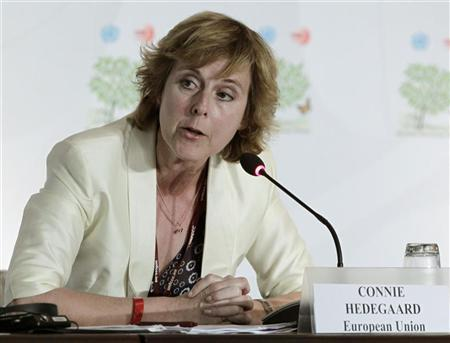 European climate commissioner Connie Hedegaard speaks during a news conference at the Moon Palace, where climate talks are taking place, in Cancun December 6, 2010. REUTERS/Henry Romero