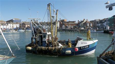 A fishing boat sails into the town harbour in Weymouth, southern England June 6, 2011. REUTERS/Avril Ormsby