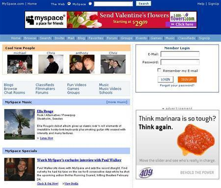 An undated image courtesy of MySpace. REUTERS/Handout