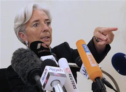 French Finance Minister Christine Lagarde talks during a news conference in Cairo June 12, 2011. REUTERS/Asmaa Waguih